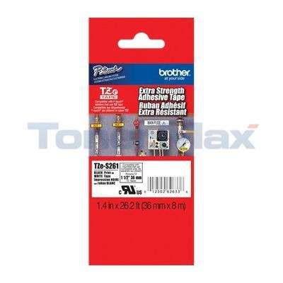 BROTHER TZ EXTRA STRENGTH ADHESIVE TAPE BLACK ON WHITE 36 MM X 8M 